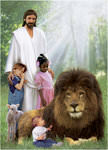 Jesus, Three Children and Lion