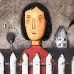 Sad Woman Standing at Picket Fence