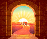 Travelers Approach Arched Gate at Sunrise