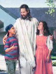 Jesus Embraces Two School Children